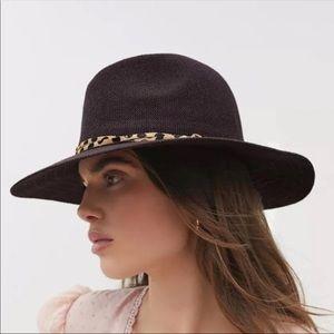 Anthropologie Leopard Trim Panama Sun Hat
